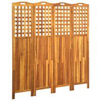 vidaXL 4dílný paraván 161 x 2 x 170 cm masivní akáciové dřevo