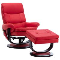 vidaXL Massage Reclining Chair Red Faux Leather and Bentwood