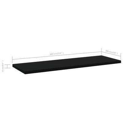 vidaXL Přídavné police 4 ks černé 60 x 20 x 1,5 cm dřevotříska