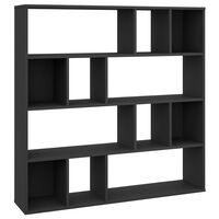 vidaXL Knihovna / dělící stěna černá 110 x 24 x 110 cm dřevotříska