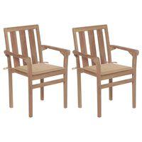 vidaXL Zahradní židle 2 ks béžové podušky masivní teakové dřevo