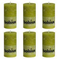 Bolsius Rustikální válcové svíčky 6 ks 130 x 68 mm mechově zelené
