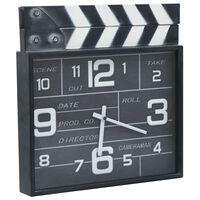 vidaXL Kinematografické nástěnné hodiny černé 33 x 5 x 34 cm kov a MDF