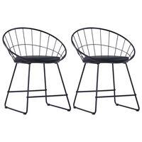 vidaXL Jídelní židle se sedáky z umělé kůže 2 ks černé ocelové