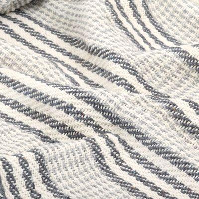vidaXL Bavlněný přehoz s pruhy 220 x 250 cm šedo-bílý