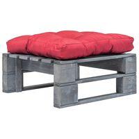 vidaXL Zahradní taburet z palet s červenou poduškou šedý dřevo