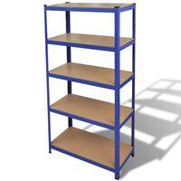 Ocelový regál vhodný na ukládání nářadí 90 x 40 x 180 cm - modrý