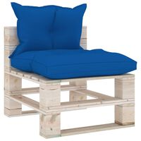 3066079 vidaXL Garden Pallet Middle Sofa with Cushions Pinewood (315823+314614)