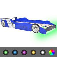 vidaXL Dětská LED postel závodní auto, 90x200 cm, modrá