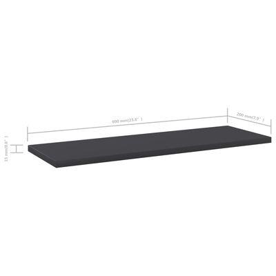 vidaXL Přídavné police 4 ks šedé 60 x 20 x 1,5 cm dřevotříska