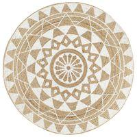 vidaXL Ručně vyrobený koberec z juty s bílým potiskem 150 cm