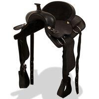 """vidaXL Westernové sedlo pro koně, set, pravá kůže 16"""" černé"""