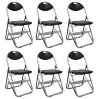 vidaXL Skládací jídelní židle 6 ks černé umělá kůže