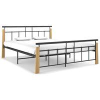 vidaXL Rám postele kov a masivní dubové dřevo 160 x 200 cm