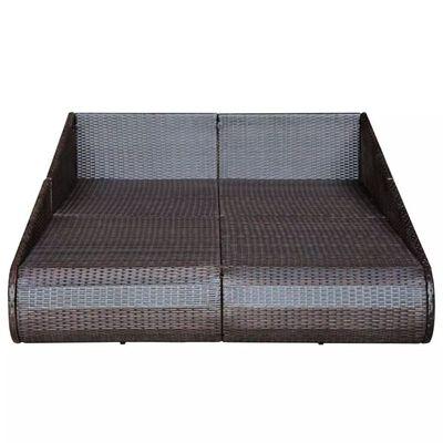 vidaXL Zahradní postel hnědá 201 x 139 cm polyratan