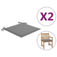 vidaXL Polstry na zahradní židle 2 ks šedé 50 x 50 x 4 cm