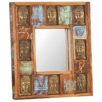 vidaXL Zrcadlo s reliéfy Buddhy 50 x 50 cm masivní recyklované dřevo