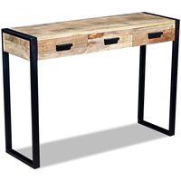 vidaXL Konzolový stolek se 3 zásuvkami, masivní mangovníkové dřevo 110x35x78 cm
