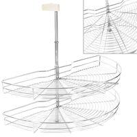 vidaXL 2patrový kuchyňský drátěný koš stříbrný 180 stupňů 85x44x80 cm
