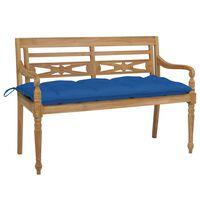 vidaXL Lavice Batavia s modrými poduškami 120 cm masivní teakové dřevo