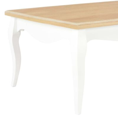vidaXL Konferenční stolek bílý a hnědý 110x60x40 cm masivní borovice