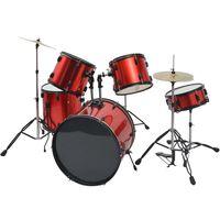 vidaXL Souprava bicích ocel pro dospělé s práškovým lakem červená