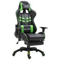 vidaXL Herní židle s podnožkou zelená umělá kůže