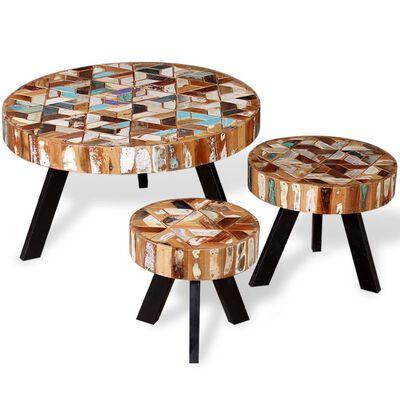 vidaXL Tři konferenční stolky masivní recyklované dřevo
