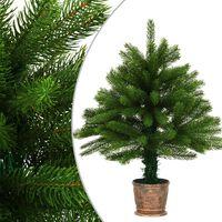 vidaXL Umělý vánoční stromek s realistickým jehličím 65 cm zelený