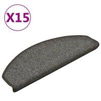 vidaXL Kobercové nášlapy na schody 15 ks tmavě šedé 65 x 24 x 4 cm