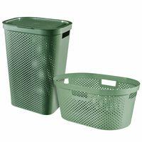 Curver 2dílný set košů na prádlo Infinity 40 l + 60 l zelený