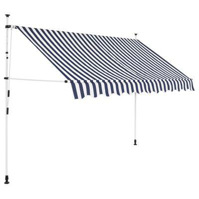 vidaXL Ručně zatahovací markýza 300 cm modro-bílé pruhy