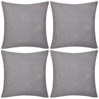 4 šedé povlaky na polštářky bavlna 80 x 80 cm