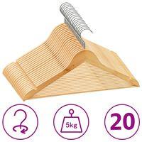 vidaXL 20 ks šatních ramínek protiskluzové tvrdé dřevo