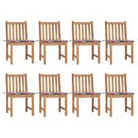 vidaXL Zahradní židle 8 ks s poduškami masivní teak
