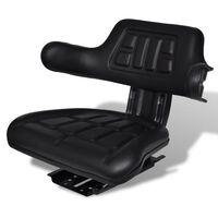 vidaXL Traktorová sedačka s opěradlem černá