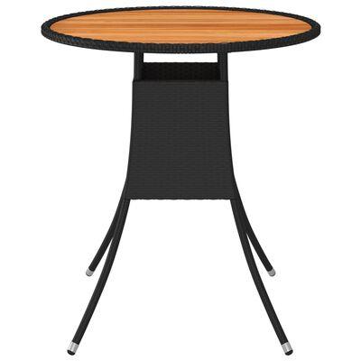 vidaXL Zahradní jídelní stůl černý Ø 70 cm polyratan a masivní akácie