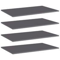 vidaXL Přídavné police 4 ks šedé vysoký lesk 80x50x1,5 cm dřevotříska