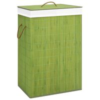 vidaXL Bambusový koš na prádlo zelený 72 l