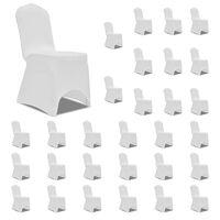vidaXL Potahy na židle napínací bílé 30 ks