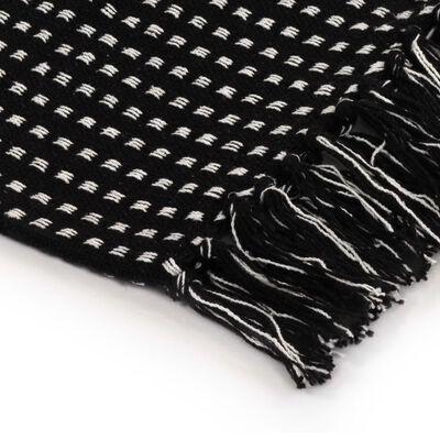 vidaXL Bavlněný přehoz se čtverečky 160 x 210 cm černý