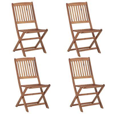 vidaXL Skládací zahradní židle s poduškami 4 ks masivní akáciové dřevo