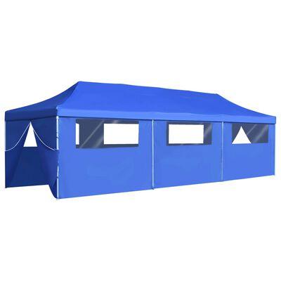vidaXL Skládací nůžkový party stan s 8 bočními stěnami 3 x 9 m modrý