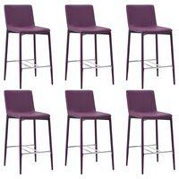 vidaXL Barové stoličky 6 ks fialové umělá kůže