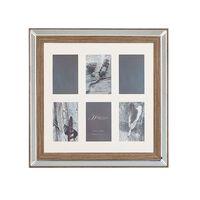 Rámeček Na 6 Fotografií Zrcadlový Efekt Barva Tmavého Dřeva Sinta