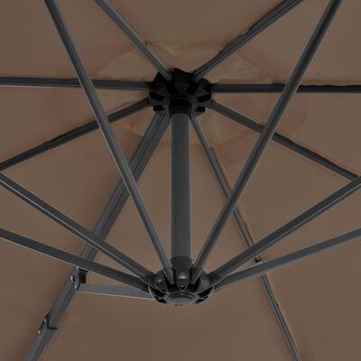 vidaXL Konzolový slunečník s hliníkovou tyčí 300 cm barva taupe