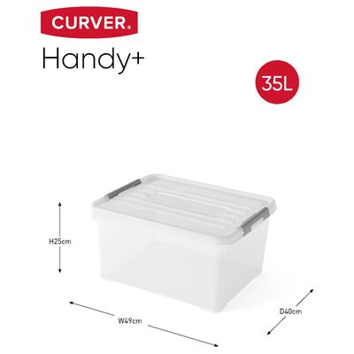 Curver Set úložných boxů s víkem Handy + 3 ks 35 l průhledný