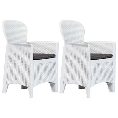 vidaXL Zahradní židle 2 ks + podušky bílé plastové ratanový vzhled