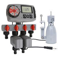 vidaXL Automatické zavlažovací hodiny 4 stanice a dešťový senzor 3 V