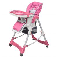 VidaXL Dětská vysoká židle výškově nastavitelná Deluxe, růžová